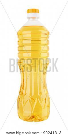 Sunflower Oil in a plastic bottle isolated on white background