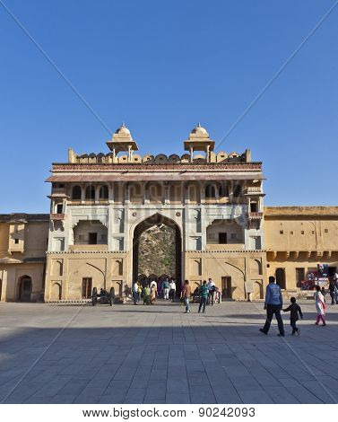 People Visit The Famous Amer Fort
