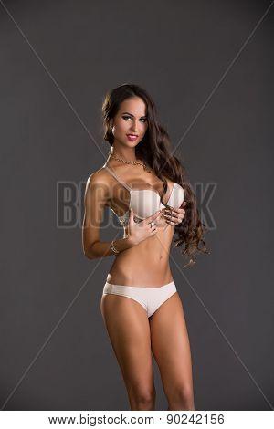 Sexy model look like doll. Advertising underwear