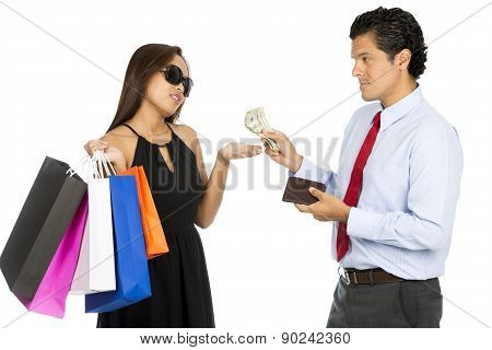Asian Wife Shopping Demanding More Cash  Husband