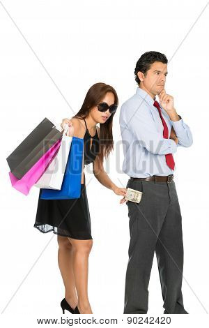 Wife Secretly Inserting Money Husband Pocket