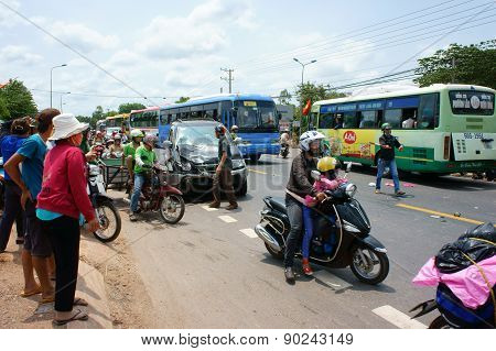 Traffic Accident, Crashed Car, Motorbike