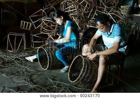 Vietnamese Worker, Rattan Basket,