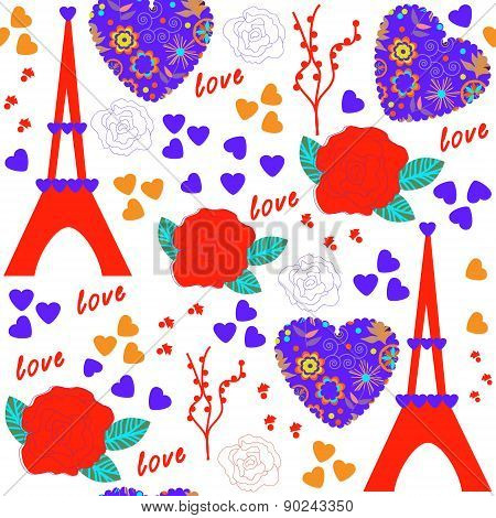 Romantic Seamless Pattern And Seamless Pattern In Swatch Menu, Vector Illustration