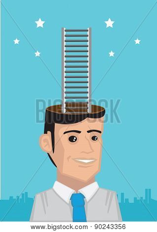 Corporate Ladder Reaching Stars Vector Illustration