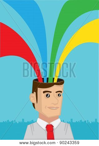 Rainbow Coming Out From Head Vector Illustration