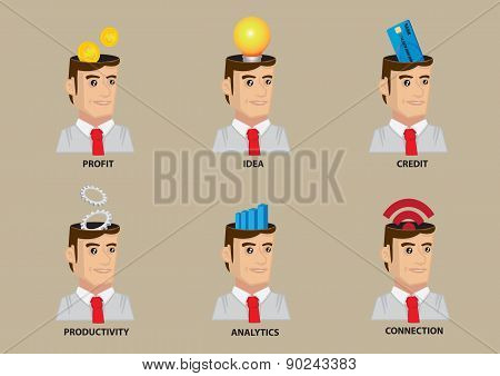 White Collar Worker Conceptual Vector Icon Set