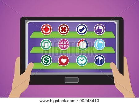 Hand Holding Touchscreen Tablet With Round Symbol App Icons