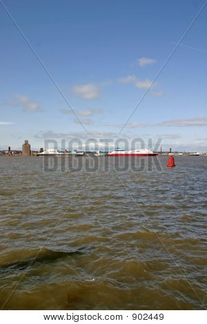 Cargo Ferry Ships On The River Mersey In Liverpool