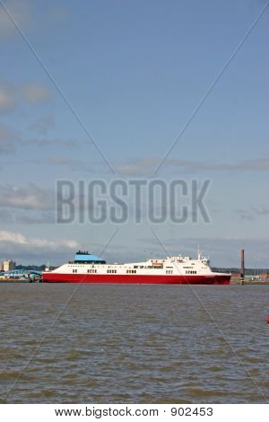 Cargo Ferry Ship On The River Mersey In Liverpool