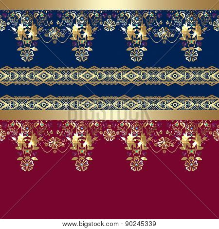 Golden seamless eastern lace pattern background
