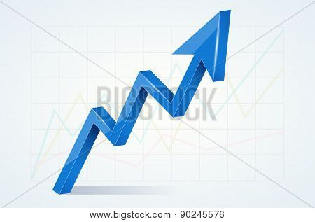 Abstract Chart With 3D Glossy Blue Arrow