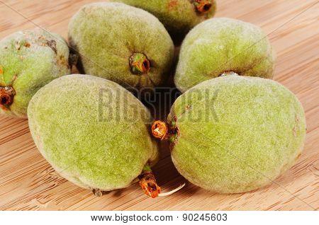 Almonds inside their pods.