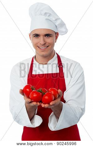 Young Chef Holding Fresh Tomatoes