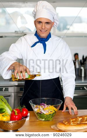 Chef Preparing The Vegetable Salad
