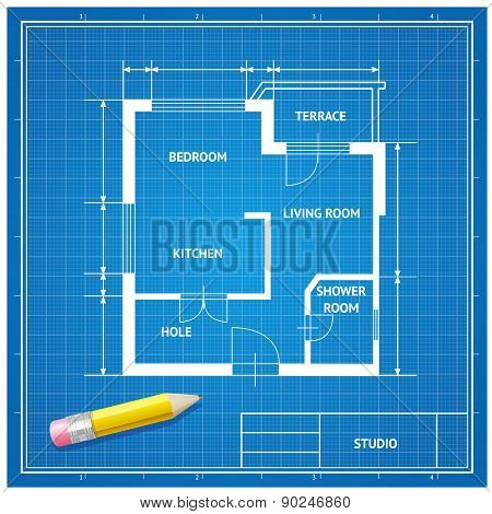 Vector  furniture architect blueprint background Flat Design