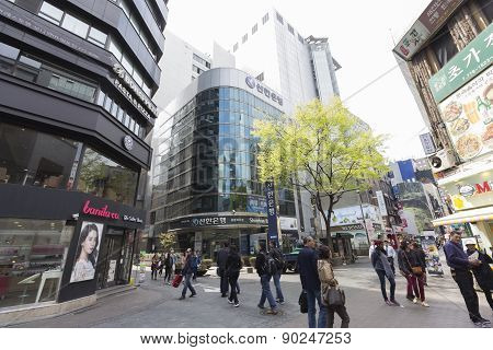 Unidentified People Walking In Myeongdong, South Korea