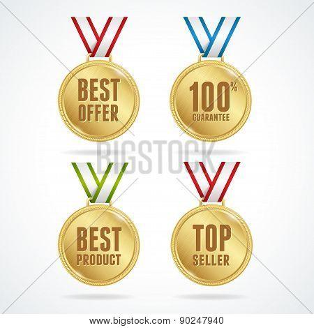 Vector. Set of medals. Sale concept