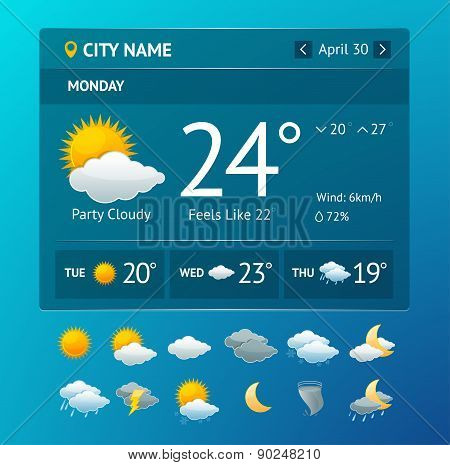 Vectot weather widget for smartphone