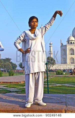 Indian People Visit Taj Mahal In India