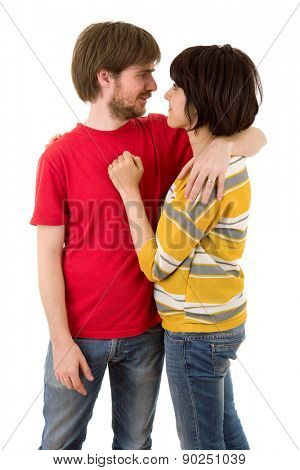 Happy smiling couple in love isolated on white background