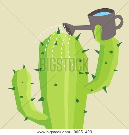 Cactus watering him self