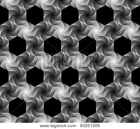 Design Seamless Monochrome Hexagonal Geometrical Pattern