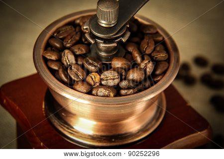 Closeup Coffee Bean And Coffee Grinder