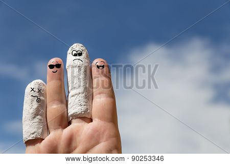 Hand In Front Of Blue Sky, Injured Fingers
