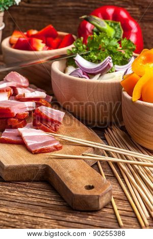 Ingredients To Prepare Skewers.