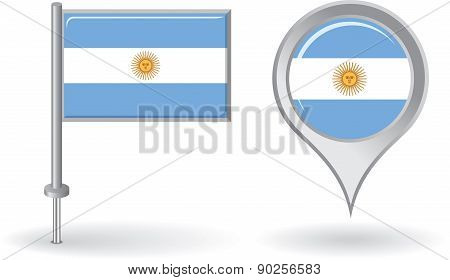 Argentinean pin icon and map pointer flag. Vector
