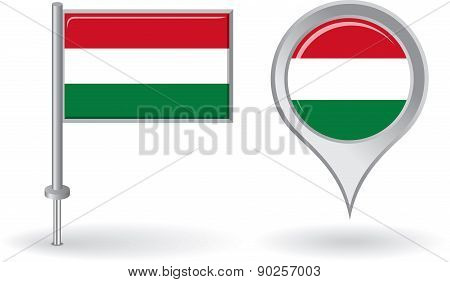Hungarian pin icon and map pointer flag. Vector