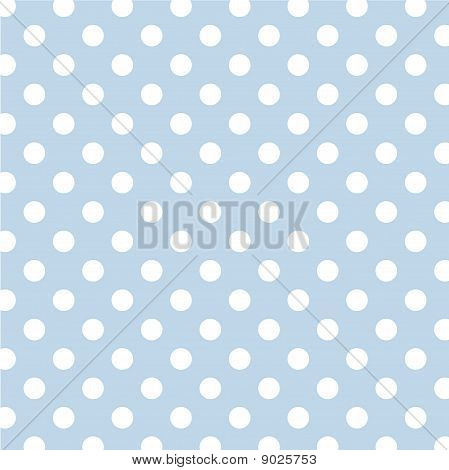 Pastel Blue, Big White Polka Dots