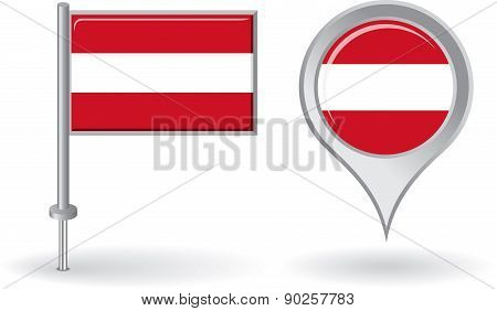 Austrian pin icon and map pointer flag. Vector