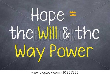 Hope Equals the Will and Way
