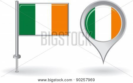 Irish pin icon and map pointer flag. Vector