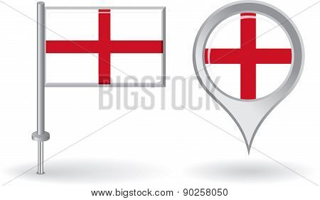 English pin icon and map pointer flag. Vector