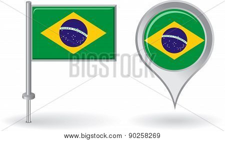 Brazilian pin icon and map pointer flag. Vector