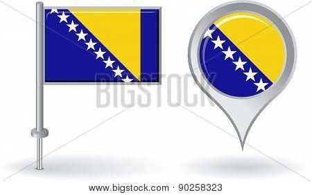 Bosnia and Herzegovina pin icon, map pointer flag. Vector