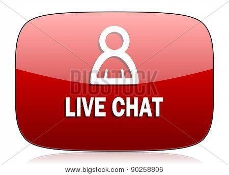 live chat red glossy web icon