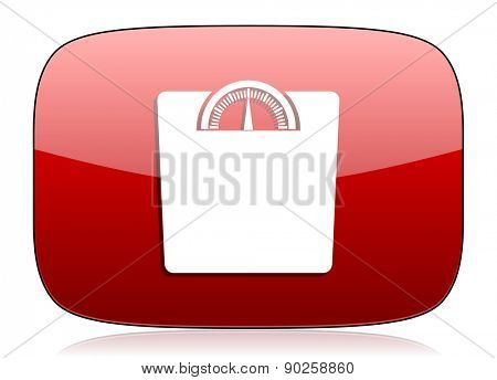 weight red glossy web icon