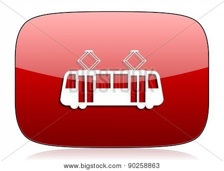 tram red glossy web icon