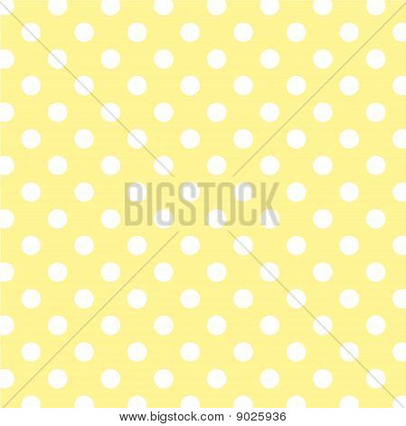 Pastel Yellow, Big White Polka Dots