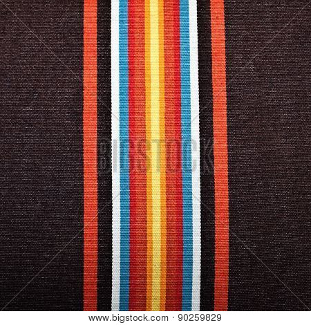 Colorful stripes on linen textile