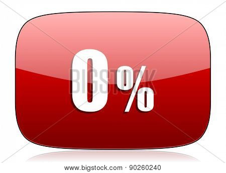 0 percent red glossy web icon