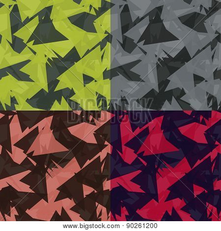 Set Of Colored Abstract Seamless Pattern