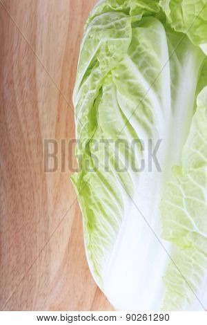 Chinese Cabbage On Wooden Chopping Board Prepare Cooking