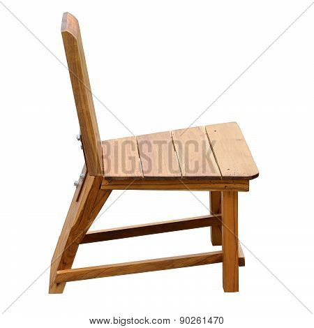 Wooden Chair, Isolated On White Background With Clipping Path