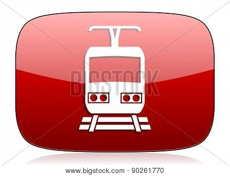 train red glossy web icon