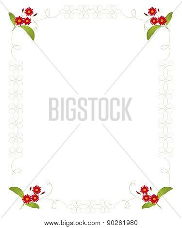 Floral Blank For Letter, Invitation, Congratulation. Vector Illustration.